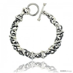 Sterling Silver Round & Oval Rolo Link Bracelet Toggle Clasp Handmade 3/8 in wide