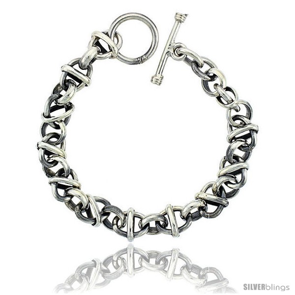 https://www.silverblings.com/42015-thickbox_default/sterling-silver-round-oval-rolo-link-bracelet-toggle-clasp-handmade-3-8-in-wide.jpg