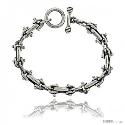 Sterling Silver Horseshoe Link Bracelet Toggle Clasp Handmade 1/2 in wide
