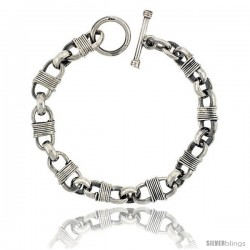 Sterling Silver Bullet Chain Link Bracelet Toggle Clasp Handmade 3/8 in wide