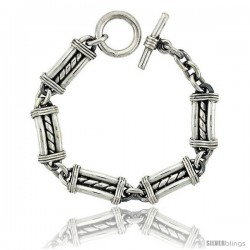 Sterling Silver Bullet Chain Link Bracelet Toggle Clasp Handmade 1/2 in wide -Style Lx430