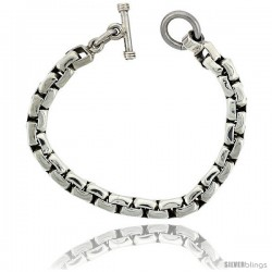 Sterling Silver Box Chain Link Bracelet Toggle Clasp Handmade 3/8 in wide