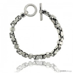 Sterling Silver Box Chain Link Bracelet Toggle Clasp Handmade 5/16 in wide -Style Lx435