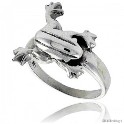 Sterling Silver Polished Frog Ring, 11/16 in wide