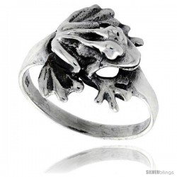 Sterling Silver Polished Frog Ring 1/2 in wide