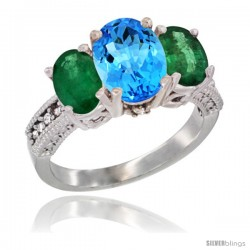 14K White Gold Ladies 3-Stone Oval Natural Swiss Blue Topaz Ring with Emerald Sides Diamond Accent