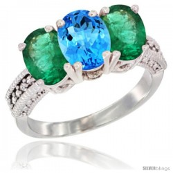 14K White Gold Natural Swiss Blue Topaz & Emerald Sides Ring 3-Stone 7x5 mm Oval Diamond Accent
