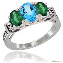 14K White Gold Natural Swiss Blue Topaz & Emerald Ring 3-Stone Oval with Diamond Accent