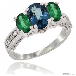 14k White Gold Ladies Oval Natural London Blue Topaz 3-Stone Ring with Emerald Sides Diamond Accent