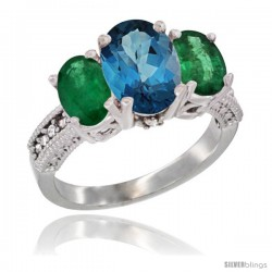 14K White Gold Ladies 3-Stone Oval Natural London Blue Topaz Ring with Emerald Sides Diamond Accent