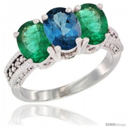14K White Gold Natural London Blue Topaz & Emerald Sides Ring 3-Stone 7x5 mm Oval Diamond Accent