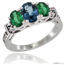 14K White Gold Natural London Blue Topaz & Emerald Ring 3-Stone Oval with Diamond Accent