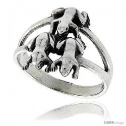 Sterling Silver Triple Frog Polished Ring 5/8 in wide