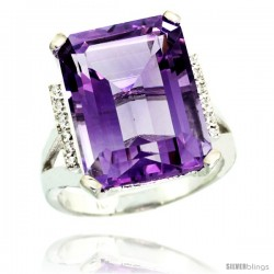 10k White Gold Diamond Amethyst Ring 12 ct Emerald Cut 16x12 stone 3/4 in wide