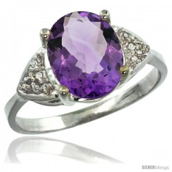10k White Gold Diamond Amethyst Ring 2.40 ct Oval 10x8 Stone 3/8 in wide