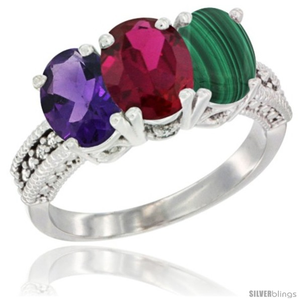 https://www.silverblings.com/42095-thickbox_default/10k-white-gold-natural-amethyst-ruby-malachite-ring-3-stone-oval-7x5-mm-diamond-accent.jpg