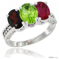 14K White Gold Natural Garnet, Peridot & Ruby Ring 3-Stone 7x5 mm Oval Diamond Accent