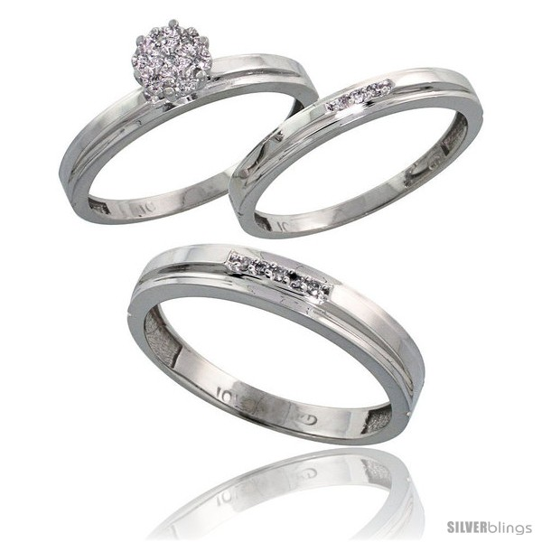 10k White Gold Diamond Trio Engagement Wedding Rings Set for Him 4mm
