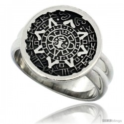 Sterling Silver Aztec Calendar Ring Handmade 5/8 in wide