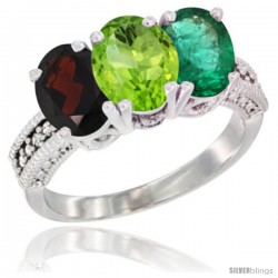 14K White Gold Natural Garnet, Peridot & Emerald Ring 3-Stone 7x5 mm Oval Diamond Accent