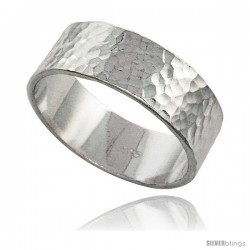 Sterling Silver Flat 8 mm Wedding Band Ring Hammered Finish Handmade, 5/16 in wide