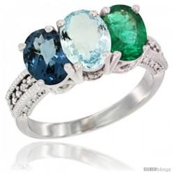 14K White Gold Natural London Blue Topaz, Aquamarine & Emerald Ring 3-Stone 7x5 mm Oval Diamond Accent