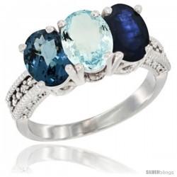 14K White Gold Natural London Blue Topaz, Aquamarine & Blue Sapphire Ring 3-Stone 7x5 mm Oval Diamond Accent