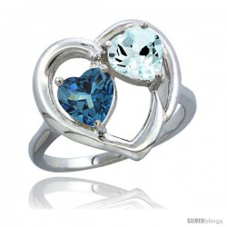 14k White Gold 2-Stone Heart Ring 6mm Natural London Blue Topaz & Aquamarine Diamond Accent