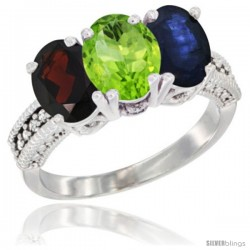 14K White Gold Natural Garnet, Peridot & Blue Sapphire Ring 3-Stone 7x5 mm Oval Diamond Accent