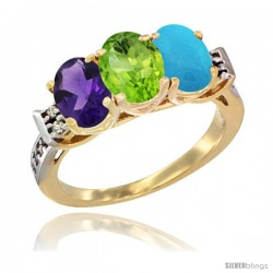 10K Yellow Gold Natural Amethyst, Peridot & Turquoise Ring 3-Stone Oval 7x5 mm Diamond Accent