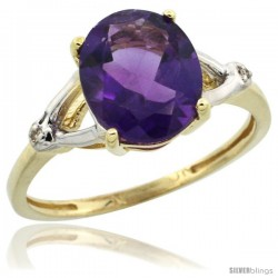 10k Yellow Gold Diamond Amethyst Ring 2.4 ct Oval Stone 10x8 mm, 3/8 in wide