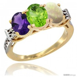 10K Yellow Gold Natural Amethyst, Peridot & Opal Ring 3-Stone Oval 7x5 mm Diamond Accent