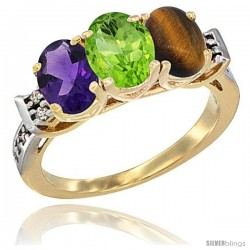 10K Yellow Gold Natural Amethyst, Peridot & Tiger Eye Ring 3-Stone Oval 7x5 mm Diamond Accent