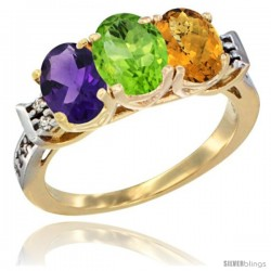10K Yellow Gold Natural Amethyst, Peridot & Whisky Quartz Ring 3-Stone Oval 7x5 mm Diamond Accent
