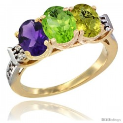 10K Yellow Gold Natural Amethyst, Peridot & Lemon Quartz Ring 3-Stone Oval 7x5 mm Diamond Accent