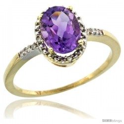 10k Yellow Gold Diamond Amethyst Ring 1.17 ct Oval Stone 8x6 mm, 3/8 in wide