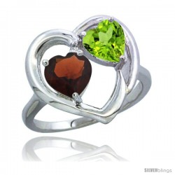 14k White Gold 2-Stone Heart Ring 6mm Natural Garnet & Peridot Diamond Accent