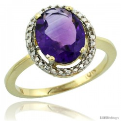 10k Yellow Gold Diamond Amethyst Ring 2.4 ct Oval Stone 10x8 mm, 1/2 in wide -Style Cy901114