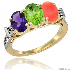 10K Yellow Gold Natural Amethyst, Peridot & Coral Ring 3-Stone Oval 7x5 mm Diamond Accent