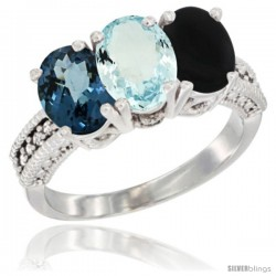 14K White Gold Natural London Blue Topaz, Aquamarine & Black Onyx Ring 3-Stone 7x5 mm Oval Diamond Accent