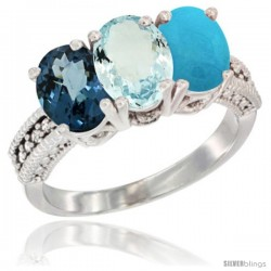 14K White Gold Natural London Blue Topaz, Aquamarine & Turquoise Ring 3-Stone 7x5 mm Oval Diamond Accent