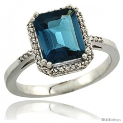 14k White Gold Diamond London Blue Topaz Ring 2.53 ct Emerald Shape 9x7 mm, 1/2 in wide