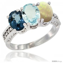 14K White Gold Natural London Blue Topaz, Aquamarine & Opal Ring 3-Stone 7x5 mm Oval Diamond Accent