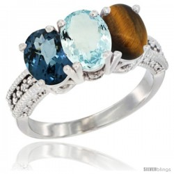 14K White Gold Natural London Blue Topaz, Aquamarine & Tiger Eye Ring 3-Stone 7x5 mm Oval Diamond Accent