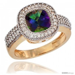 14k Yellow Gold Ladies Natural Mystic Topaz Ring Cushion-cut 3.5 ct. 7x7 Stone Diamond Accent