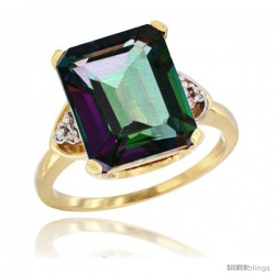 14k Yellow Gold Ladies Natural Mystic Topaz Ring Emerald-shape 12x10 Stone Diamond Accent