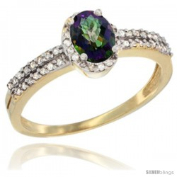 14k Yellow Gold Ladies Natural Mystic Topaz Ring oval 6x4 Stone Diamond Accent -Style Cy408178