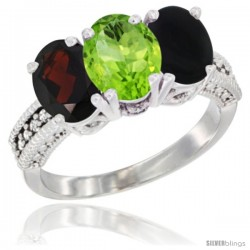 14K White Gold Natural Garnet, Peridot & Black Onyx Ring 3-Stone 7x5 mm Oval Diamond Accent
