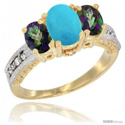 14k Yellow Gold Ladies Oval Natural Turquoise 3-Stone Ring with Mystic Topaz Sides Diamond Accent