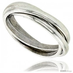 Sterling Silver Rolling Ring w/ 3 mm Domed Bands Handmade